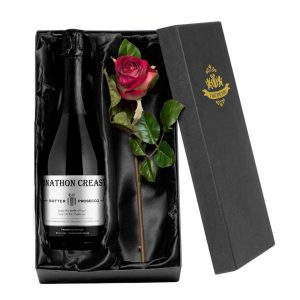 Personalised Contemporary Prosecco & Rose Giftset