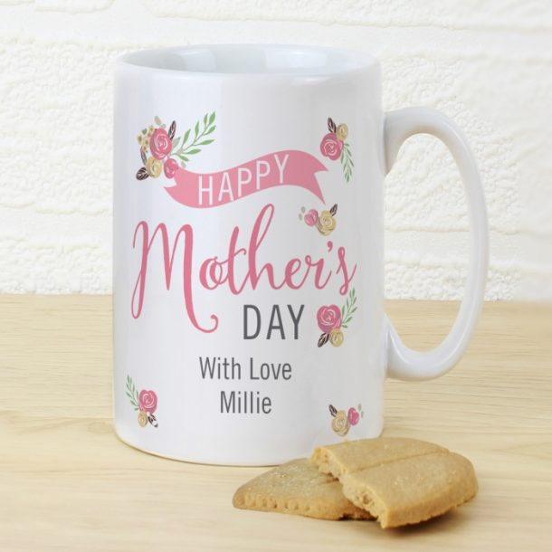 Personalised Floral Bouquet Mother's Day Slim Mug