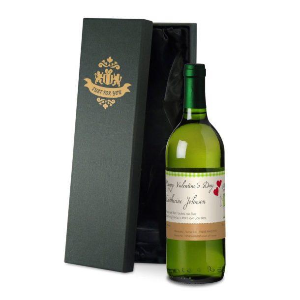 Personalised French Valentine White Wine & Gift Box