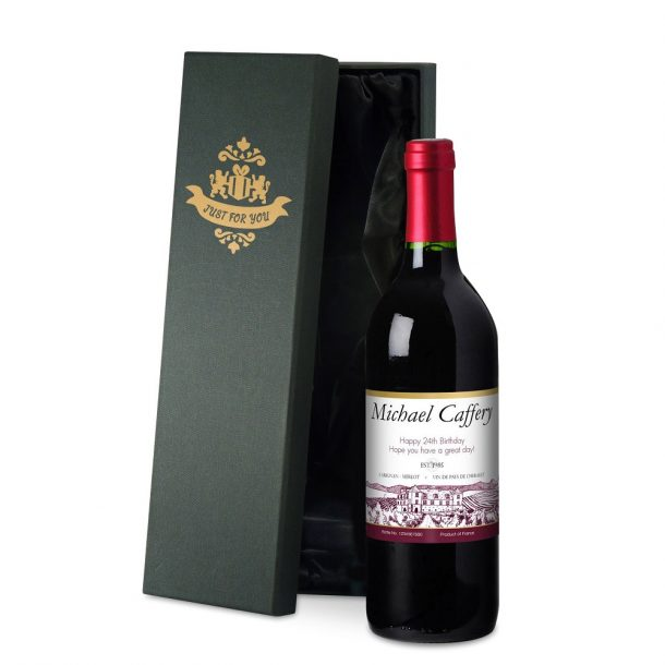 Personalised French Vineyard Red Wine & Silk Lined Gift Box