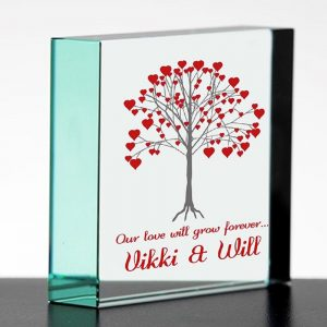 Personalised Growing Love Tree Glass Block