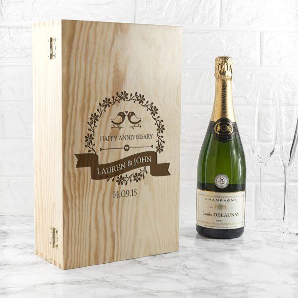 Personalised Happy Anniversary Wine Box