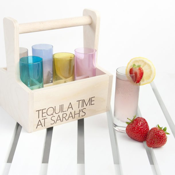 Personalised LSA Coloured Shot Glasses and Trug