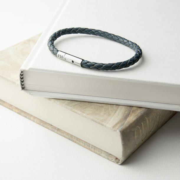 Personalised Men's Aegean Blue Woven Leather Bracelet
