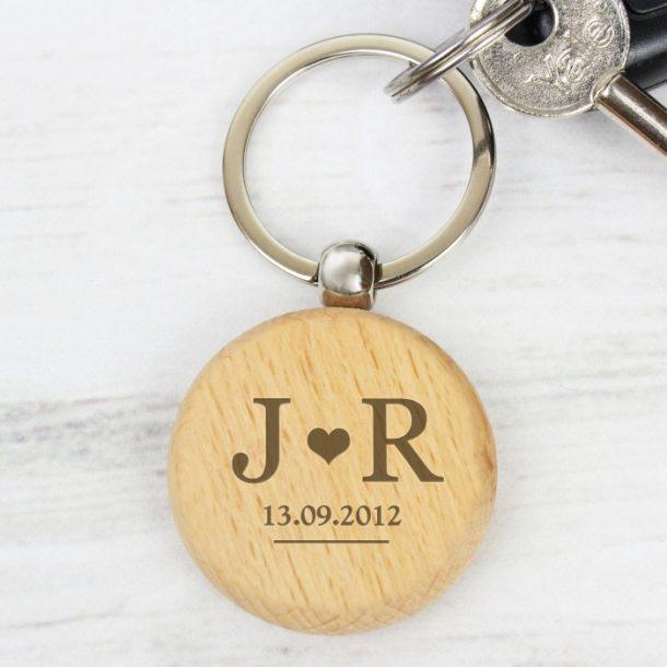 Personalised Monogram Wooden Keyring