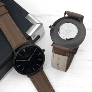 Personalised Mr Beaumont Men's Brown Leather Watch