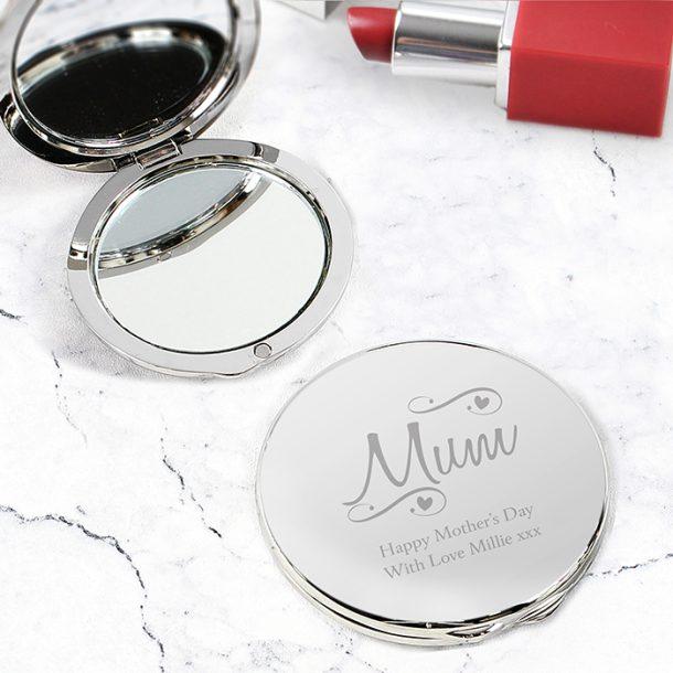 Personalised Mum Swirls & Hearts Compact Mirror