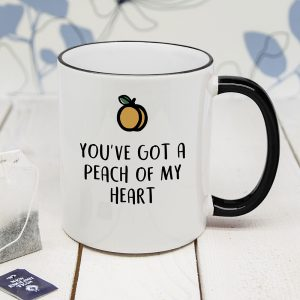 Personalised Peach Of Me Black Rimmed Mug