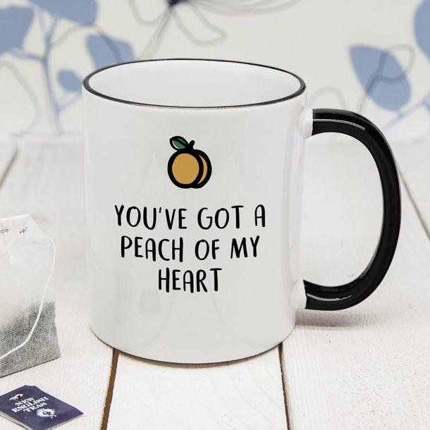 Personalised Peach Of Me Black Rimmed Mug