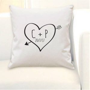 Personalised Sketch Heart Cushion Cover