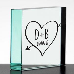 Personalised Sketch Heart Glass Block