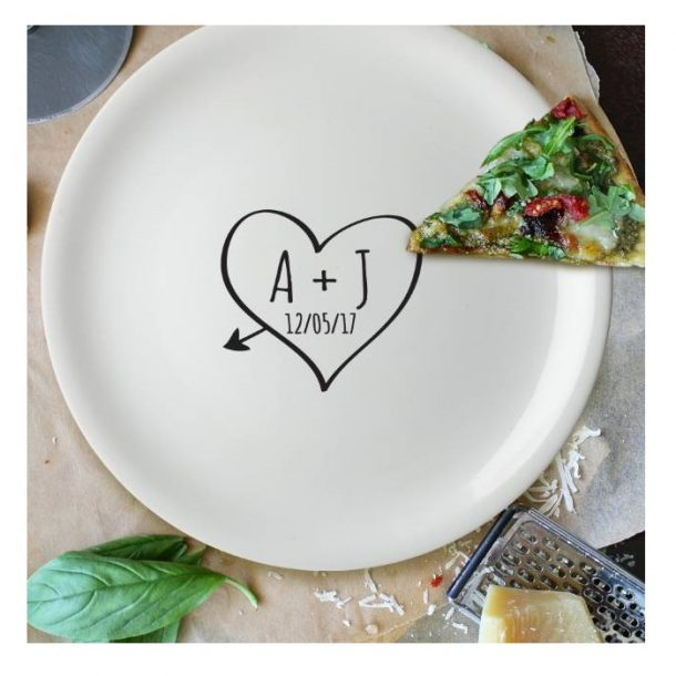 Personalised Sketch Heart Pizza Plate