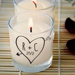 Personalised Sketch Heart Rose Scented Candle