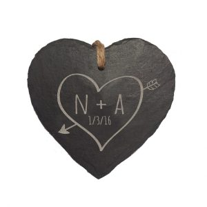 Personalised Sketch Heart Slate Hanging Sign