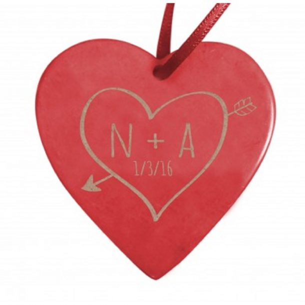 Personalised Sketch Heart Soapstone Decoration