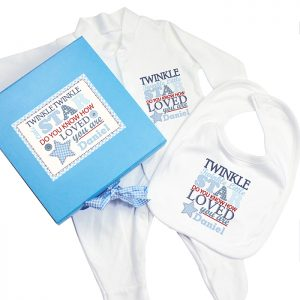 Personalised Twinkle Boys Blue Gift Set - Babygrow & Bib