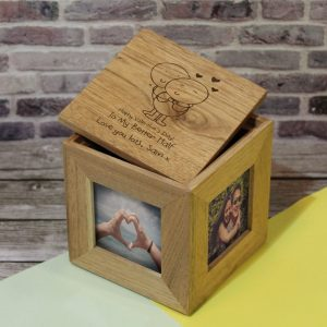 Personalised Valentine's Day Wooden Photo Cube