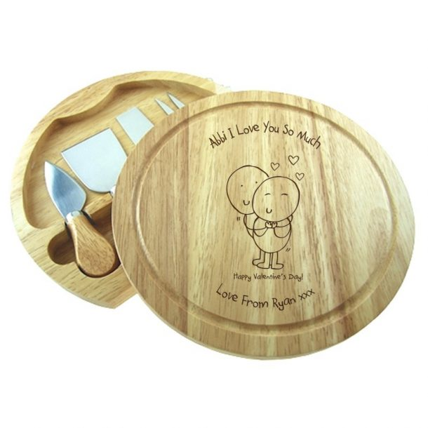 Personalised Valentines round cheeseboard & knives