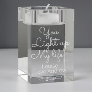 Personalised You Light Up My Life Glass Tea Light Holder