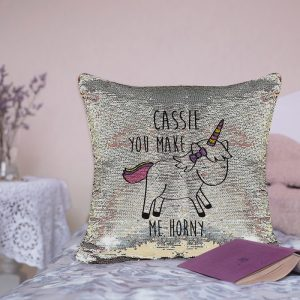 Personalised You Make Me Horny Pink & Silver Sequin Cushion