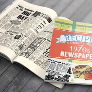 Personalised 1970's Newspaper Recipe Softback Book
