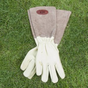 Personalised Brown Leather & Suede Gardening Gloves