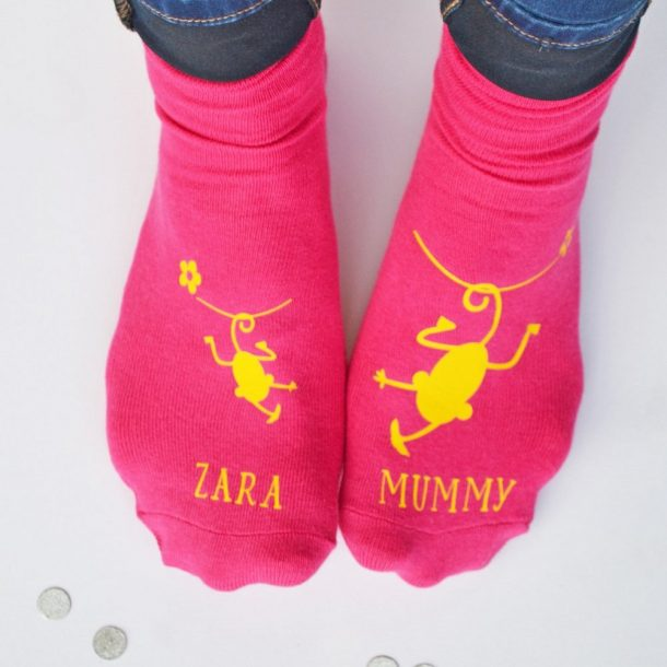 Personalised Cheeky Monkey & Mummy Socks