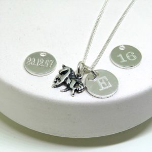 Personalised Clarendon Unicorn Necklace & Silver Mini Charm