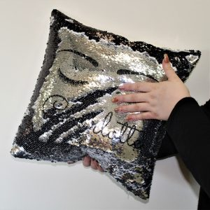 Personalised Eyelash Silver & Black Sequin Cushion