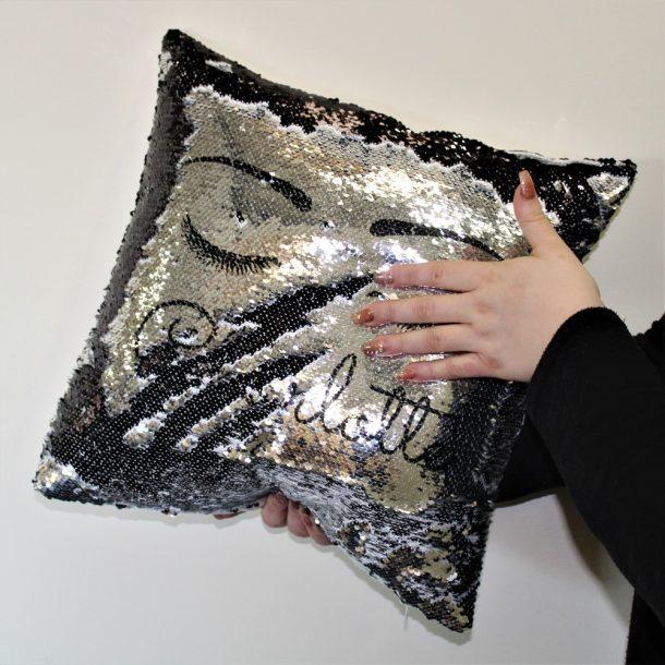 Personalised Eyelash Silver & Black Sequin Cushion