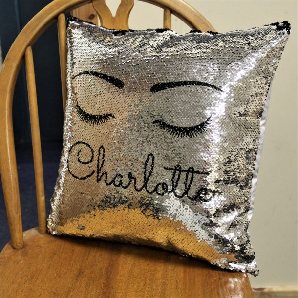 Personalised Eyelash Silver & Black Sequin Cushion Cover