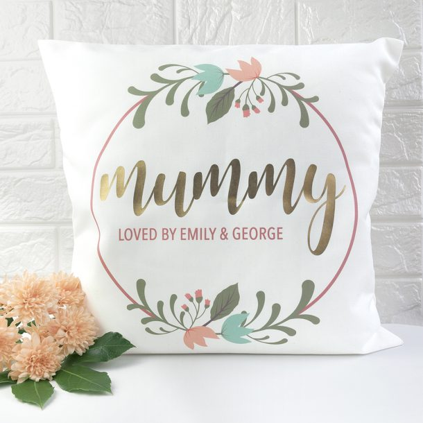 Personalised Floral Wreath Cushion Cover