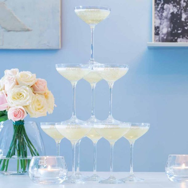 Personalised LSA Cocktail Champagne Tower Set - 10 Glasses