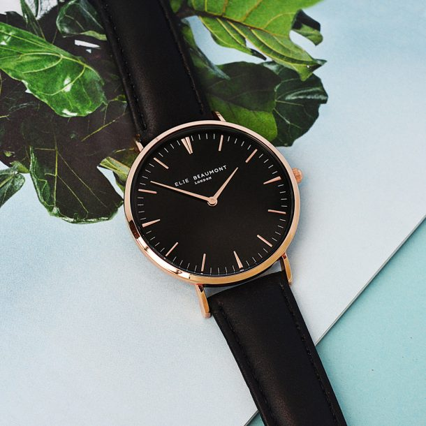 Personalised Ladies Black Leather Watch With Black Face