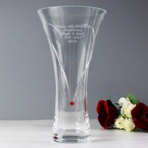 Personalised Large Ruby Heart Vase With Swarovski Elements