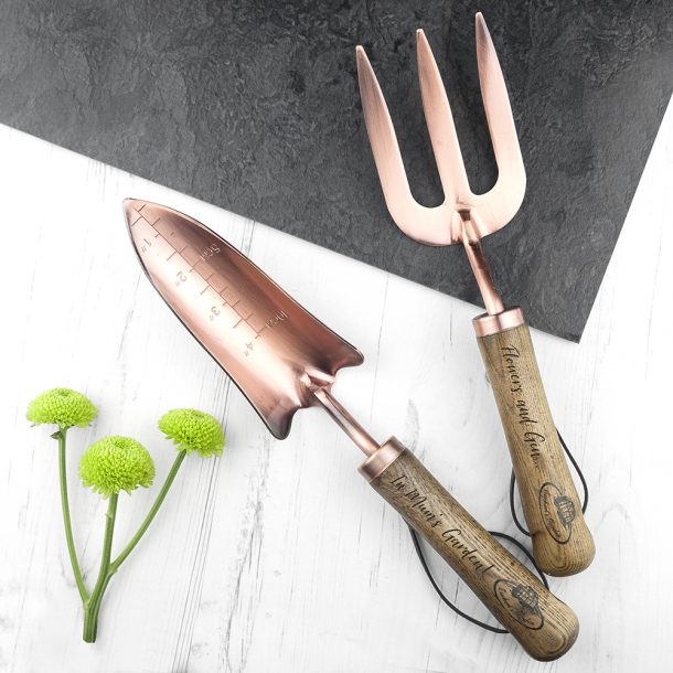 Personalised Luxe Copper Fork & Trowel Set