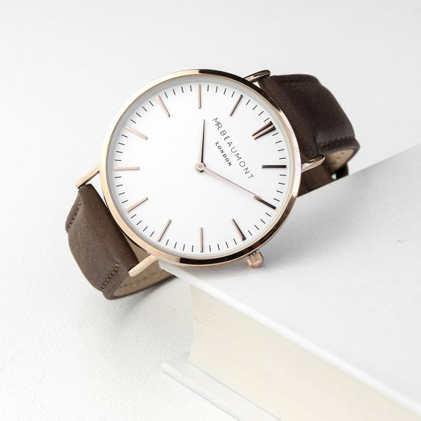 Personalised Men's Modern Brown Leather Watch