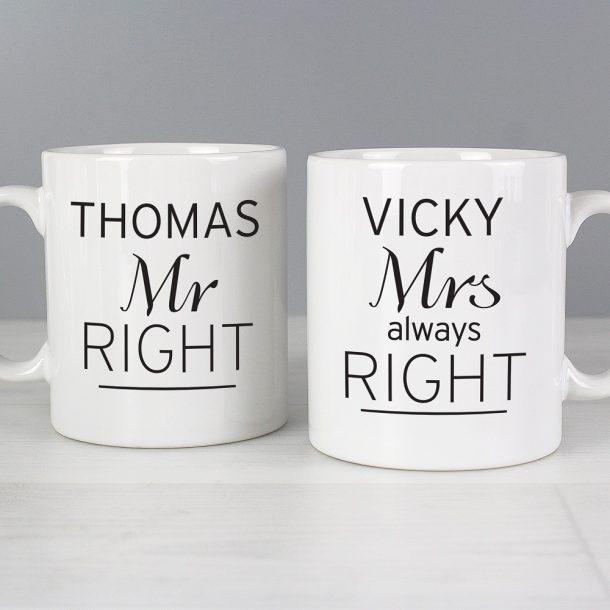 Personalised Mr Right & Mrs Always Right Mug Set
