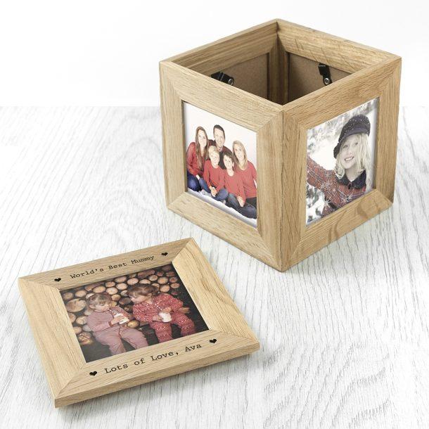 Personalised Mum Oak Photo Cube