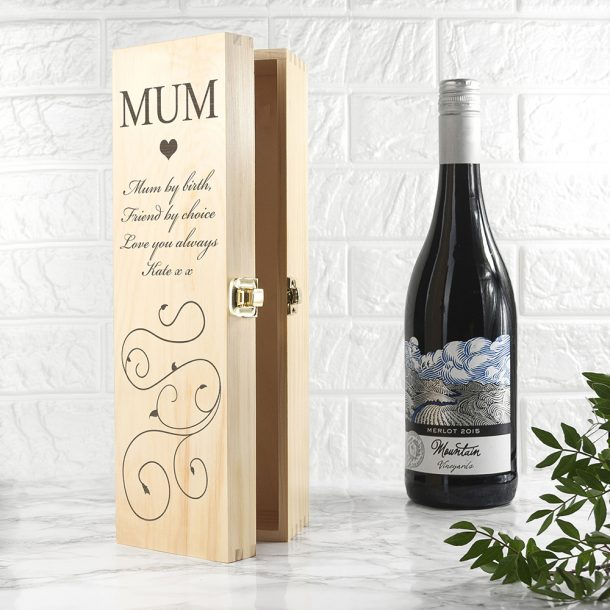 Personalised Mum Wooden Wine Box - Exclusive Love Heart
