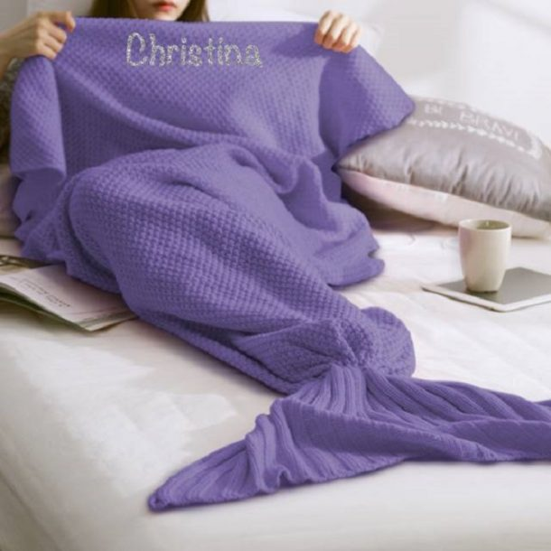 Personalised Purple Mermaid Blanket