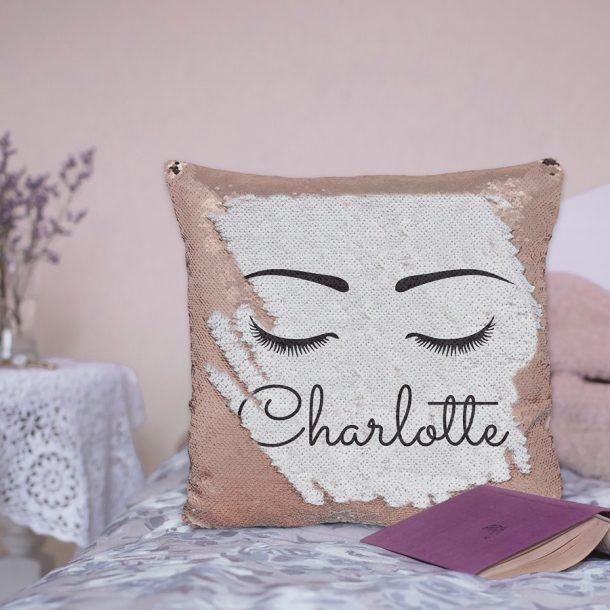 Personalised Rose Gold Eyelash Sequin Cushion