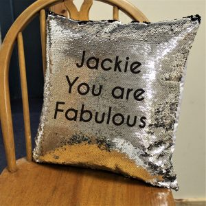 Personalised Secret Message Silver & Black Sequin Cushion Cover