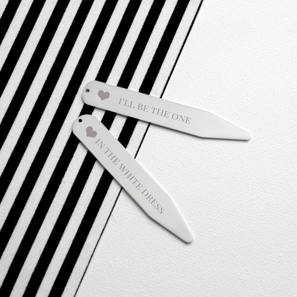 Personalised Silver Secret Message Collar Stiffeners