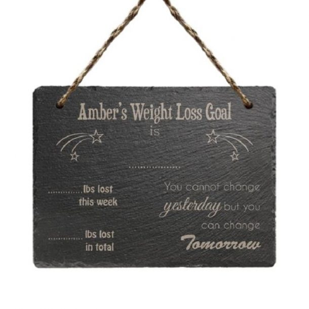 Personalised Slate Weight Loss Hanging Sign