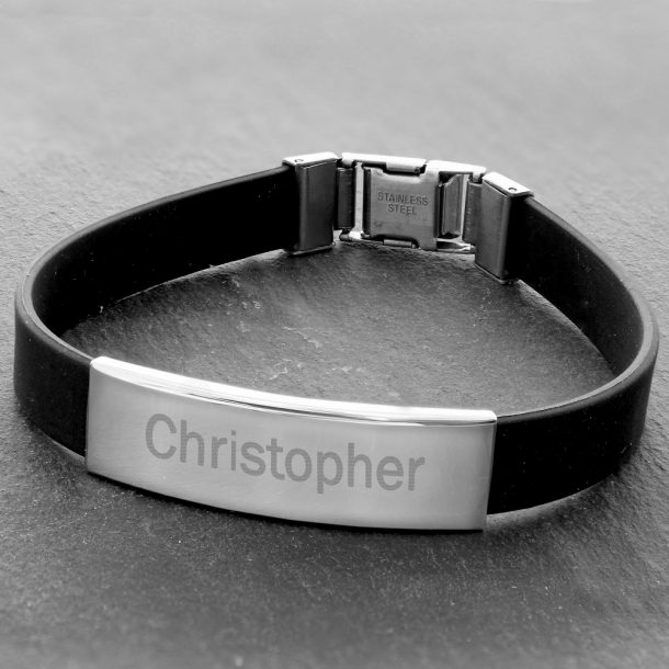 Personalised Stainless Steel Men's Black Bracelet