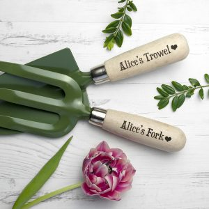 Personalised Steel Fork & Trowel Set - Exclusive Love Heart