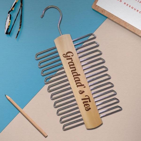 Personalised Wooden Tie Hanger