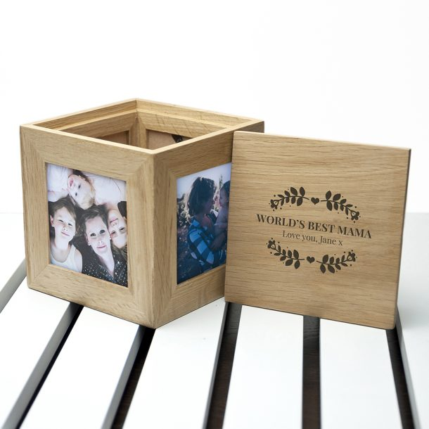 Personalised Wreath Mother's Oak Photo Cube