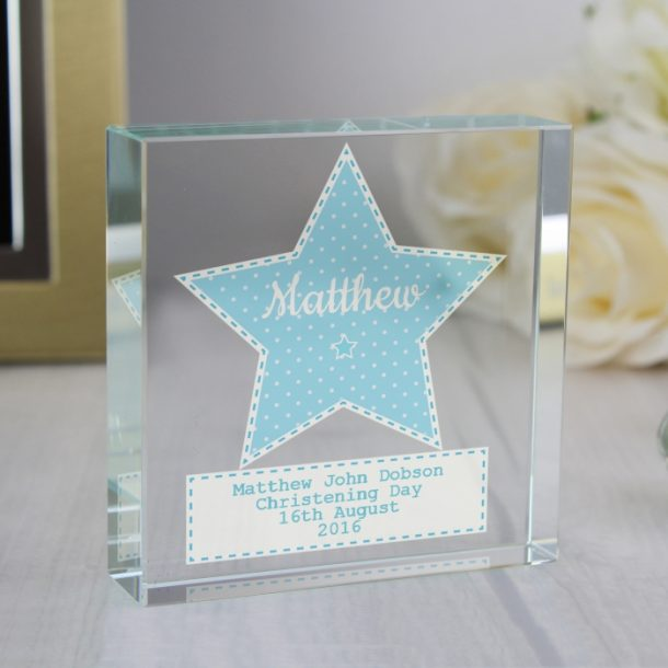 Personalised Baby Boy Large Crystal Token